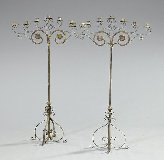 744: Pair of Continental Wrought-Iron Candelabra