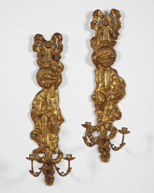 745: Italian Giltwood and Wrought-Iron Appliques