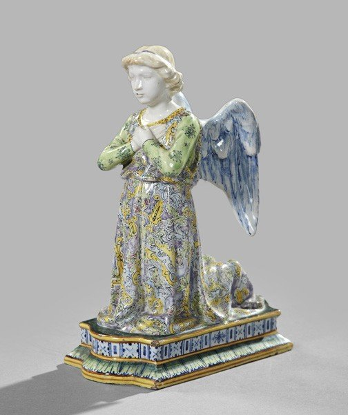 749: Polychromed Majolica Figure of an Angel