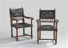 820 Pair of RenaissanceStyle Walnut Armchairs