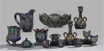 855: Collection of Iridescent Purple Carnival Glass