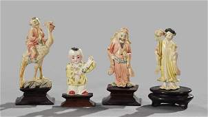 1282: Group of Four Chinese Polychromed Ivory Figures