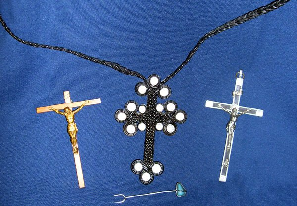 603: LEATHER PICTORAL CROSS