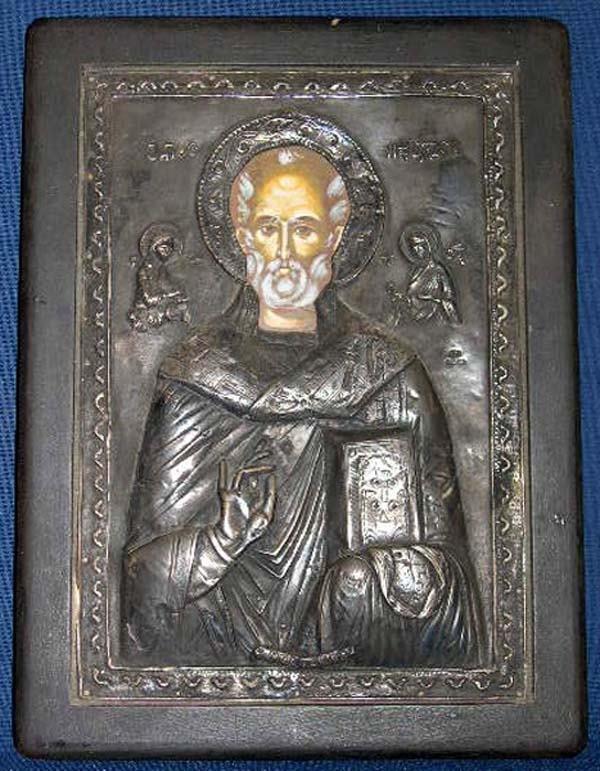 606: POLYCHROMED IKON ST. NICHOLAS BENAKI
