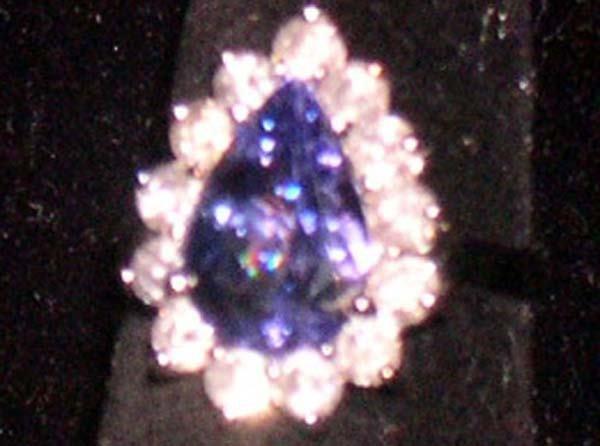 620: WHITE GOLD, TANZANITE, DIAMOND RING