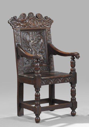 1: Elizabethan-Style Oak Hall Chair,