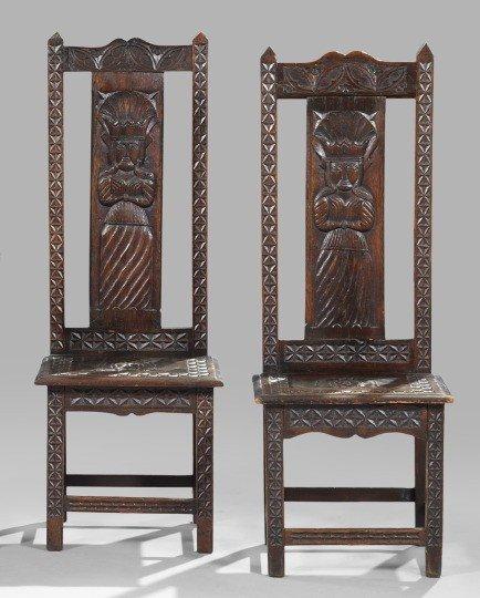 2: Pair of Medieval-Style Oak Sidechairs,