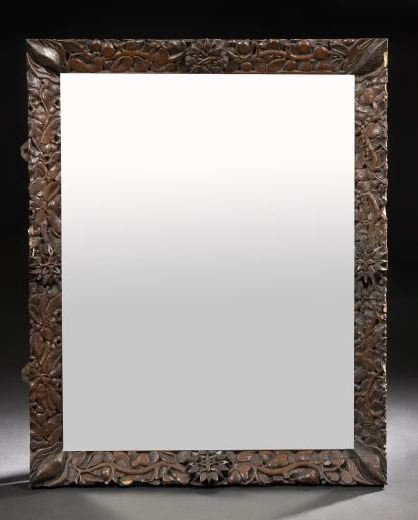 5: Continental Carved Oak Looking Glass,