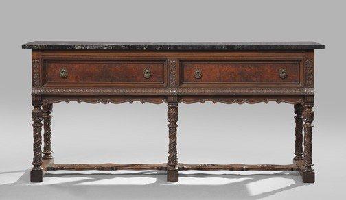 15: Jacobean-Style Walnut, Marble-Top Sideboard
