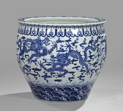 22: Chinese Blue and White Porcelain Tree Tub