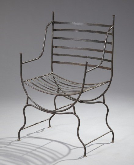 151: Patinated Bronze and Cast-Iron Armchair,