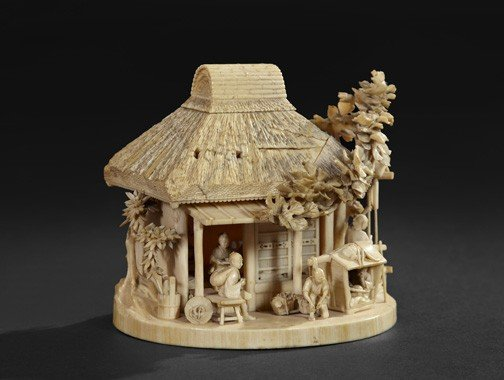 227: Japanese Meiji Carved Ivory Group