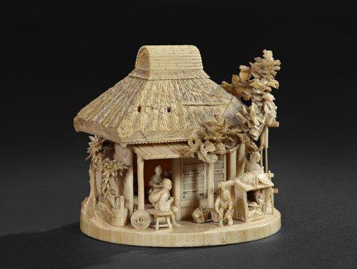 227: Japanese Meiji Carved Ivory Group