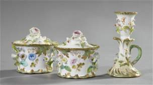 455 Fine English ThreePiece Porcelain Desk Set