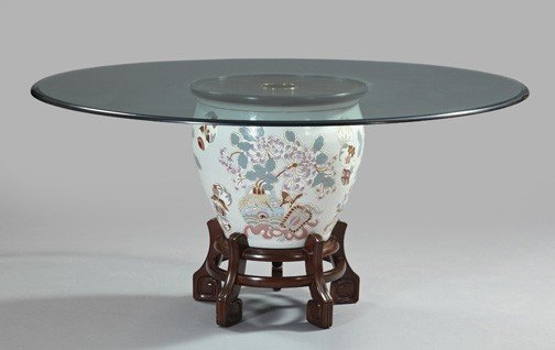 696: Chinese Fishbowl-on-Stand Dining Table