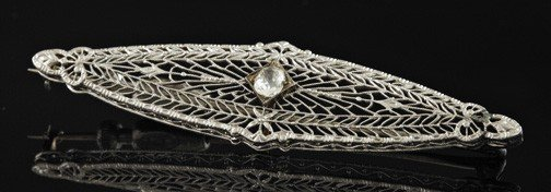 765: White Gold and Diamond Filigree Bar Pin