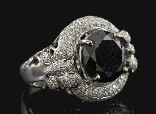 775: Gold and Black and White Diamond Dinner Ring