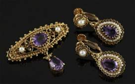 808 Gold Amethyst and Pearl Suite