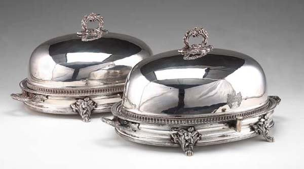 170: PAIR ENGLISH SILVERPLATE COVERED TRAYS