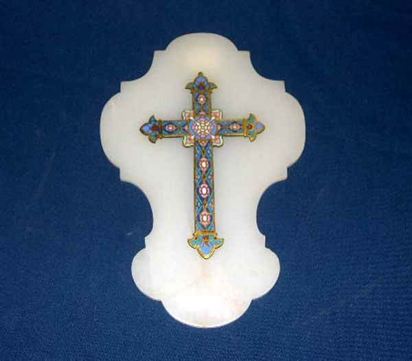 706: FRENCH CHAMPLEVE ENAMELED CROSS