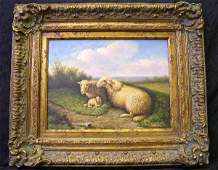 1187 SHEEP OIL ON CANVAS