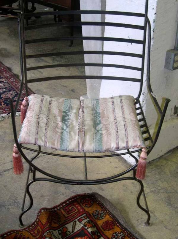 1272: PATINATED BRONZE CAST IRON ARM CHAIR