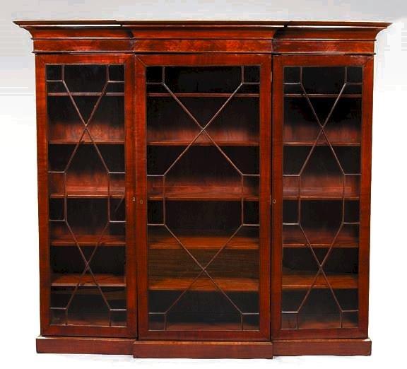 5: English Mahogany Breakfront Bookcase