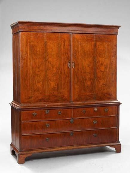 9: Victorian Walnut and Mahogany Wardrobe