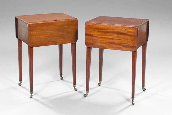 12: Pair of English Mahogany Bedside Cupboards
