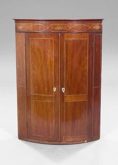 15: English Inlaid Mahogany Hanging Corner Cabinet