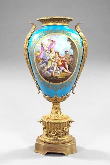 169: French Gilt-Bronze-Mounted Porcelain Vase