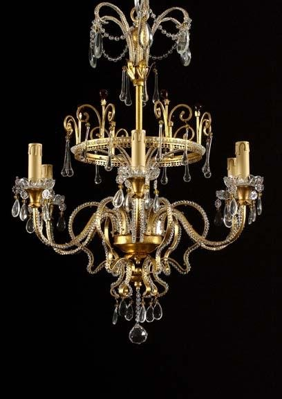 234: Pair of Italian Gilt-Wrought-Iron and -Brass Six L