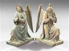 566 Pair of Northern European Wooden Figures of Kneeli