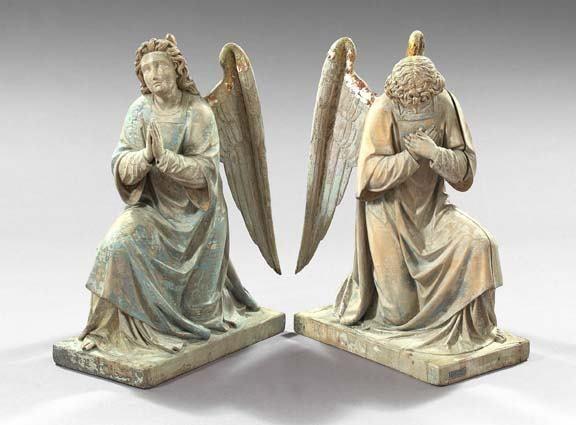 566: Pair of Northern European Wooden Figures of Kneeli