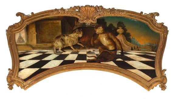 """586: Dutch School, 18th Century, """"Feline and Monkey"""""""