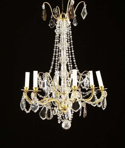 590: French Gilt-Bronze and Cut Glass Six-Light Chandel