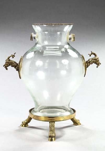 599: Large German Bronze-Mounted Blown Glass Pyriform V
