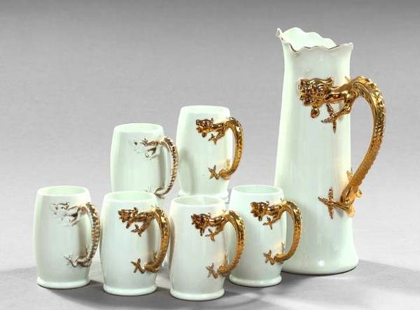 600: Good Seven-Piece Limoges, France, Ale Pitcher and