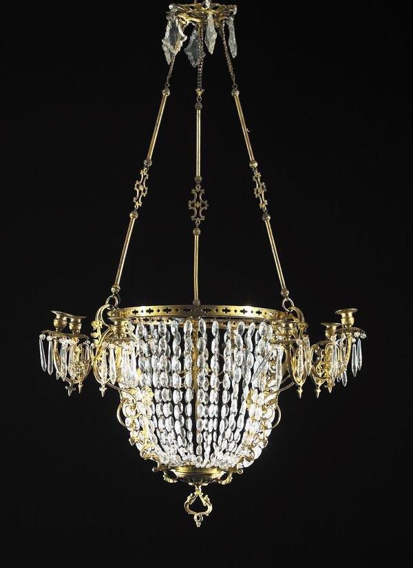 605: Good, Large Brass and Cut Glass Nine-Light Chandel