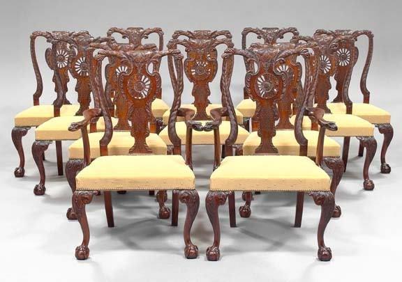 968: Suite of Twelve George III-Style Mahogany Dining C