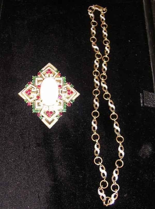 1235: Fourteen-Karat Yellow Gold, Opal, Diamond, Emeral