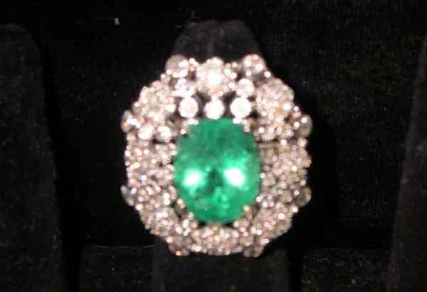 1238: Fourteen-Karat Yellow White Gold, Emerald Diamond