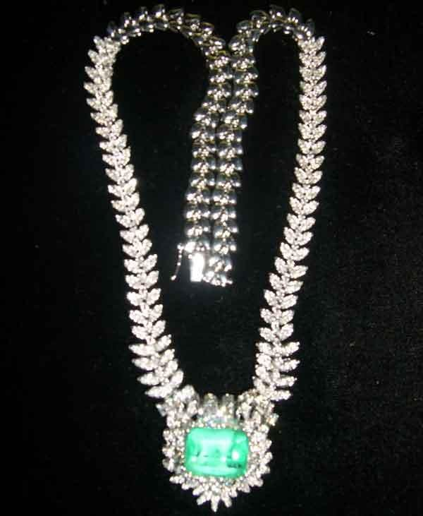 1239: Fourteen-Karat White Gold, Emerald and Diamond Ne