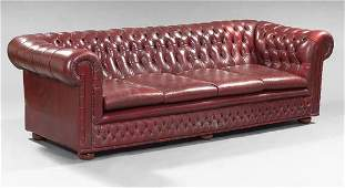 1765 English Mahogany and LeatherUpholsted Chesterfie