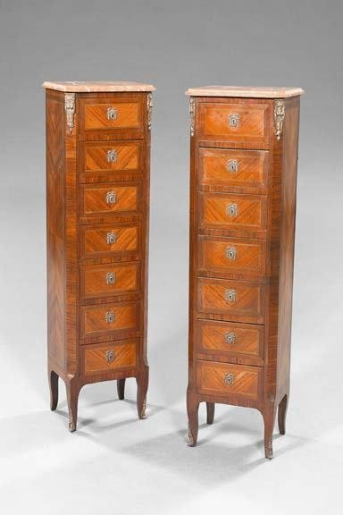 1860: Pair of French Kingwood and Marble-Top Semaniers