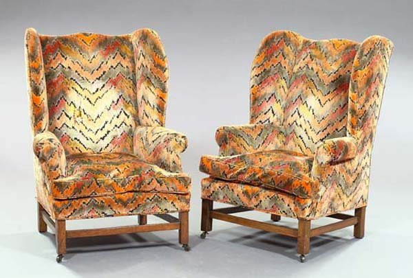 2: Pair of Edwardian Oak Wing Armchairs
