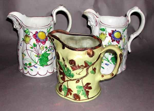 22: Group of Three Staffordshire Pitchers