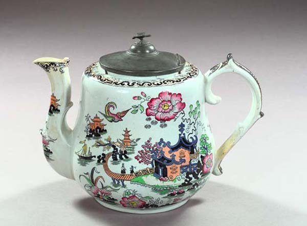 24: Pewter-Mounted Staffordshire Advertising Teapot