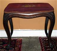 1058 American Faux Rosewood and Needlepoint Bench