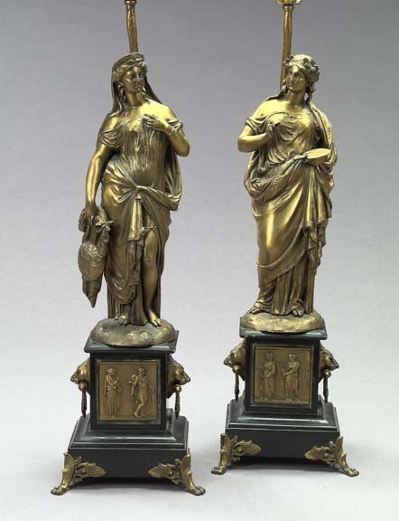 1: Pair Cast Gilded Spelter Neo-Classical Lamps